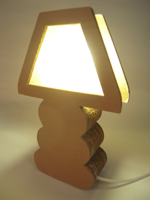 Handmade Cardboard Lamp From Recycled Cardboard Boxes On