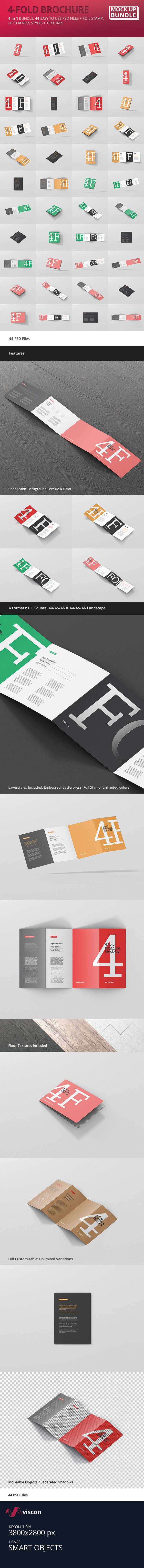 4 fold brochure mockup bundle on behance reheart Gallery