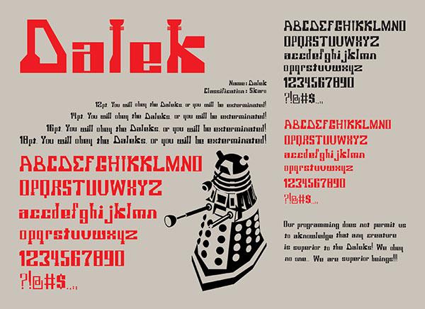 Typeface Specimen Sheet Type Specimen Sheet For Dalek