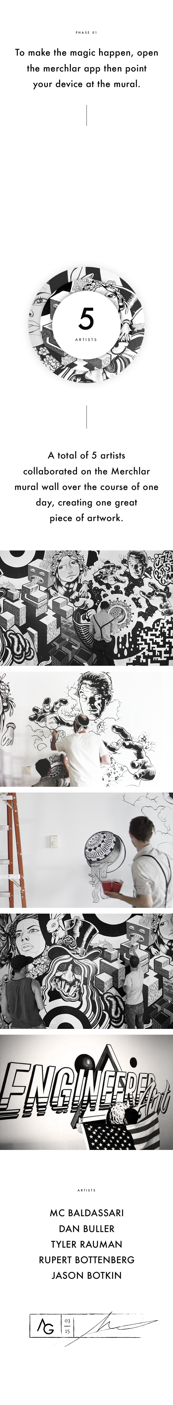 en masse Merchlar augmented reality AR Mural Graffity black and white arts PERFORMING iphone