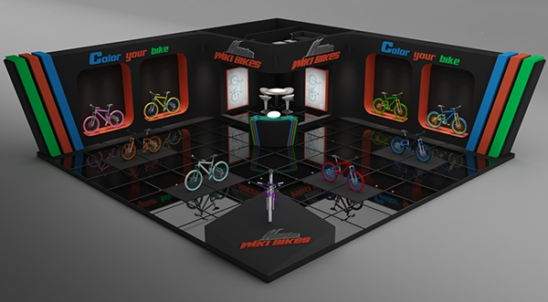 Exhibition Stand Vray : Wiki bikes exhibition stand made in d max vray on behance
