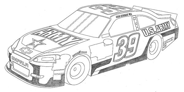 how to draw a nascar race car step by step