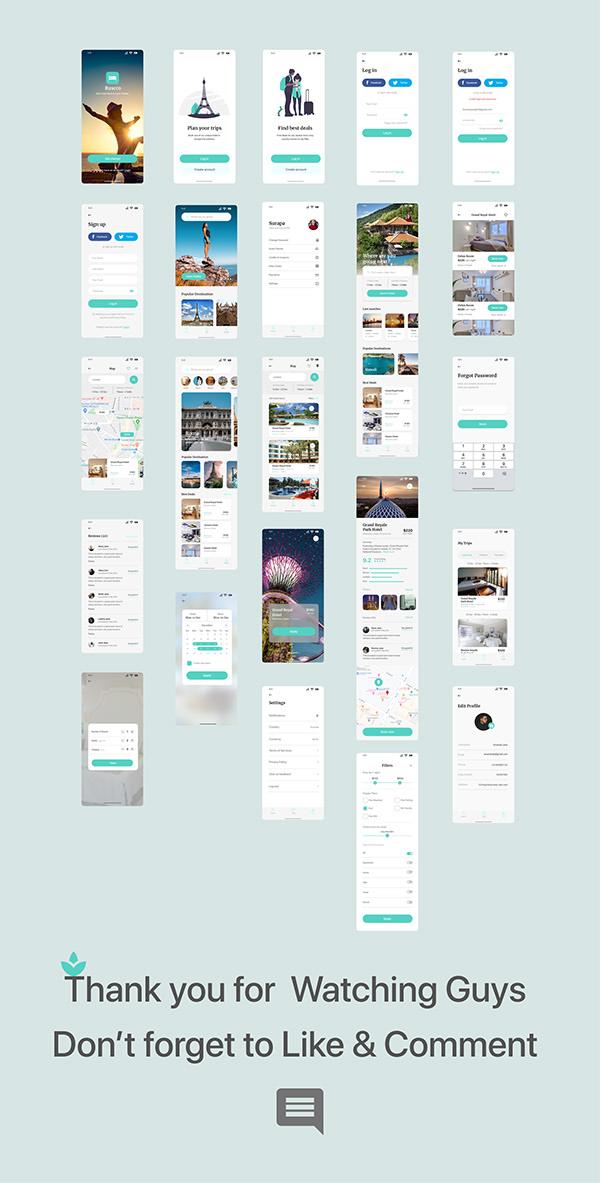 Travel & Hotel app design