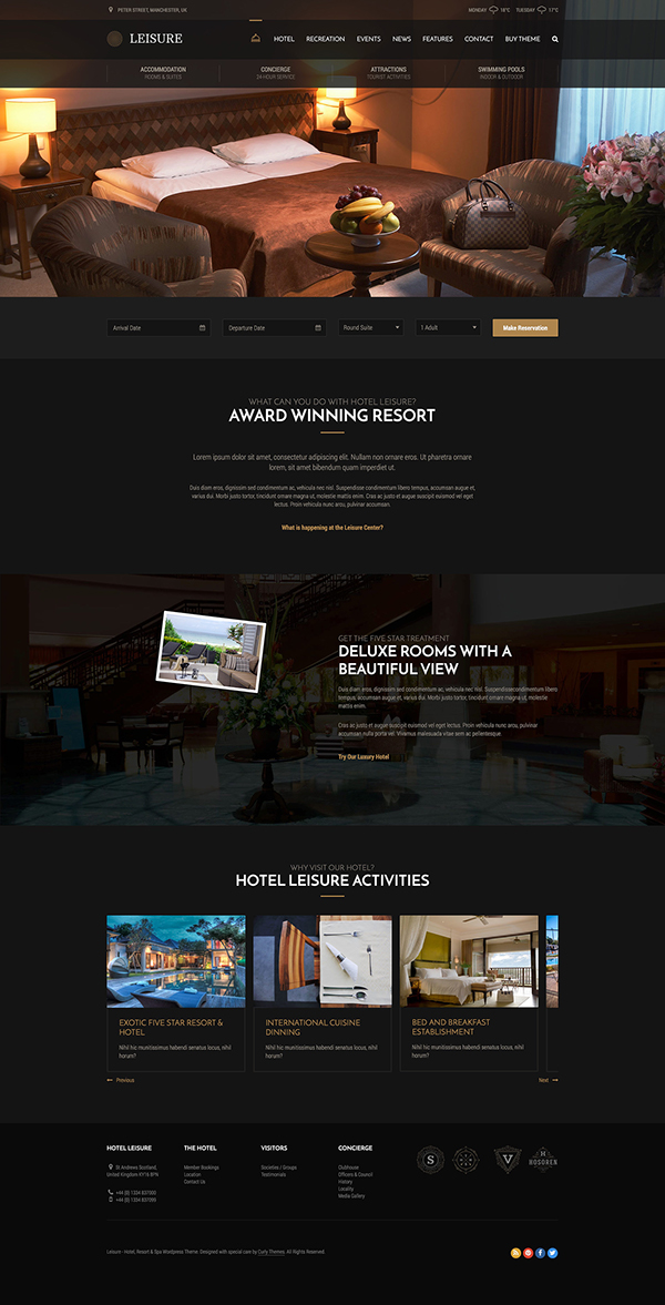 Hotel WordPress Themes Hotel Leisure - Dark Hotel WordPress Theme on Behance