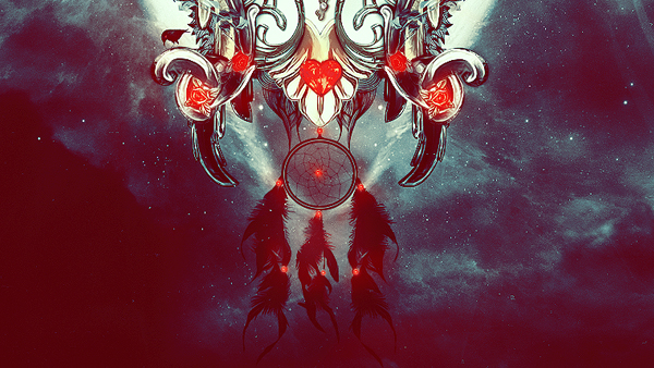 woman blood red wings Dreamcatcher Rubin jewel abstract