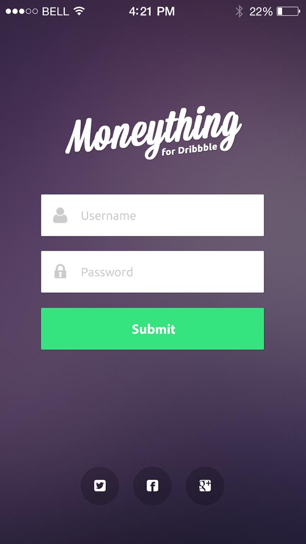 iOS7 Moneything - Login Screen Design on Behance