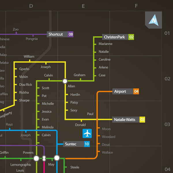 Subway Map Graphic Design.Information Graphic Neon Subway Map On Behance