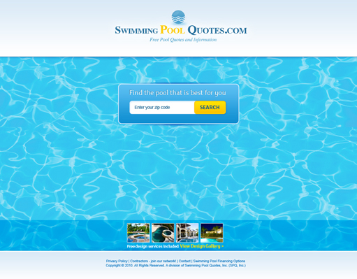 Swimming pool quotes web design on behance for Pool design website