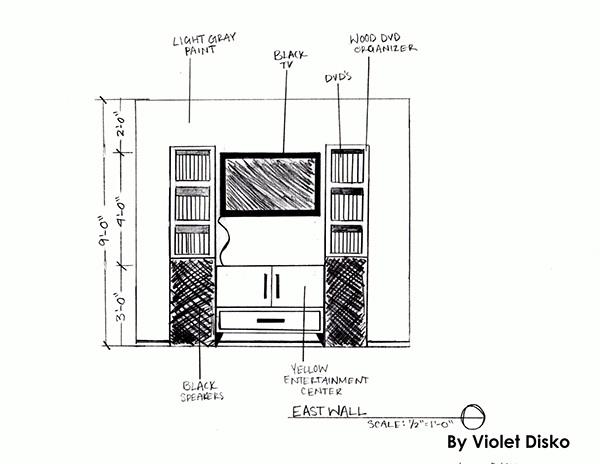 Coral living room elevation sketch on behance for Living room elevation