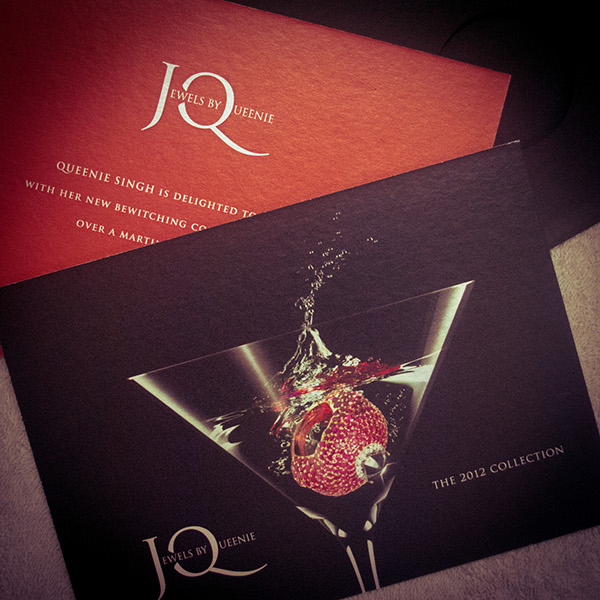 Jewels by queenie branding on behance event invite card front and back a jewellery show over some martini hors doeuvres stopboris Image collections