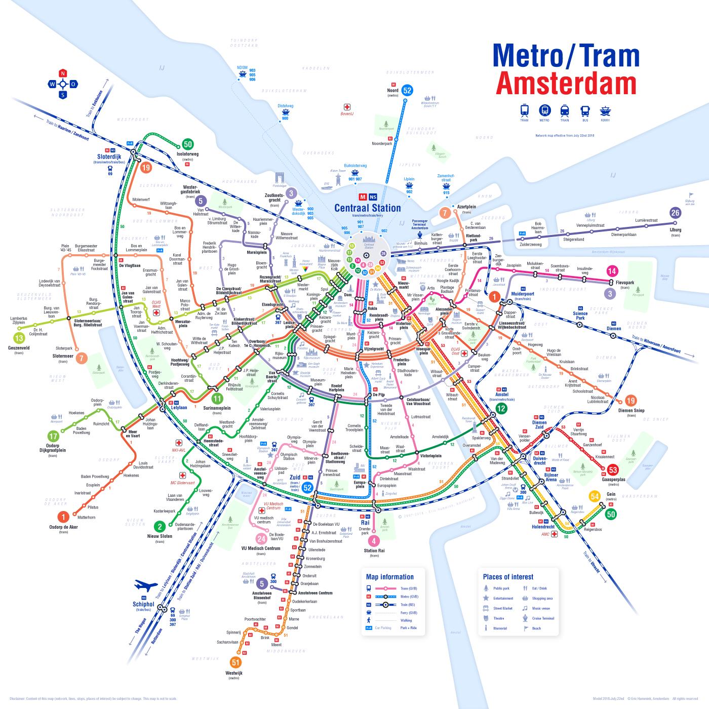 Tram Map Amsterdam Metro/Tram Amsterdam 2018 on Behance Tram Map Amsterdam