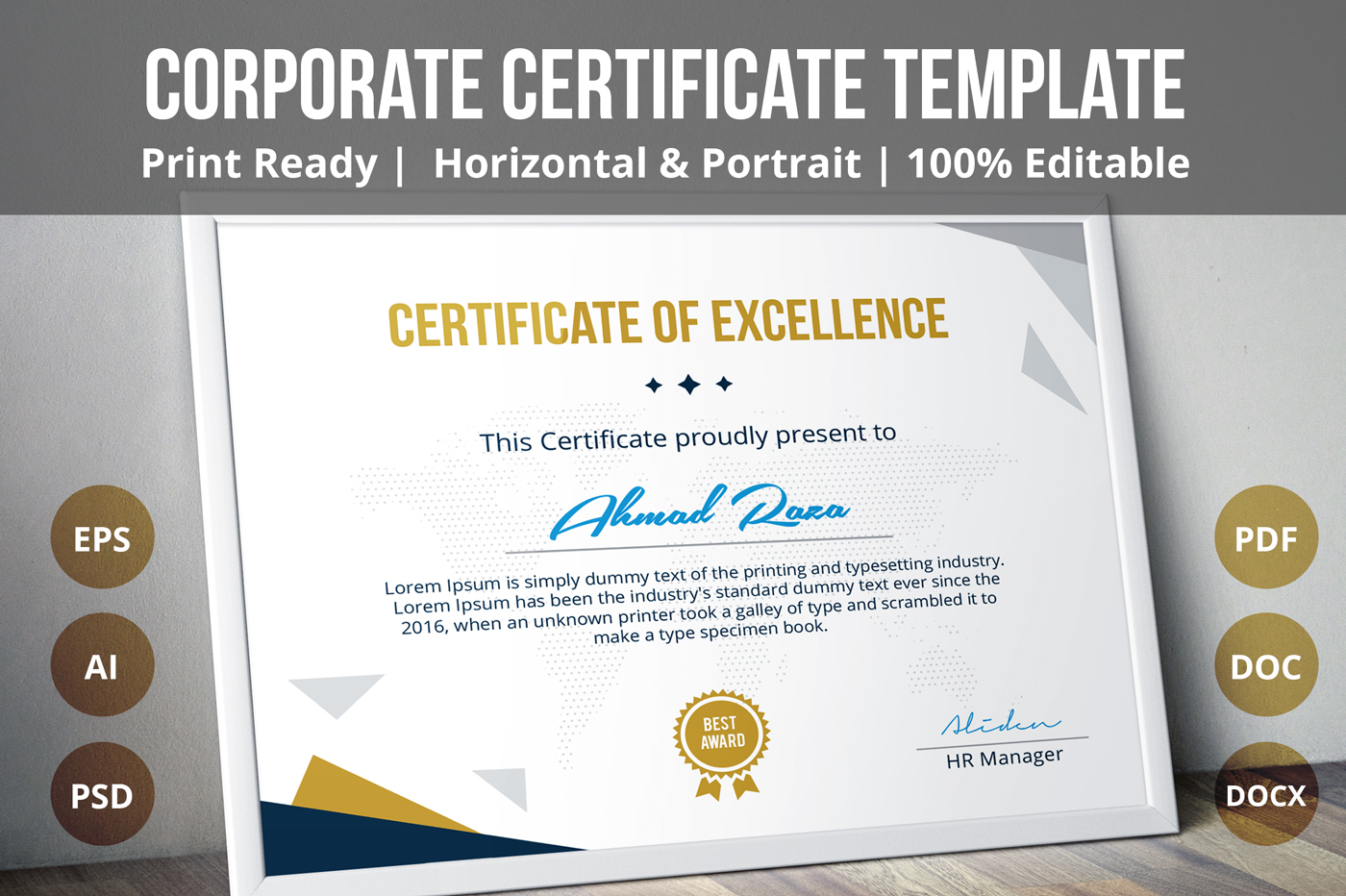 Psd Certificate Template On Behance