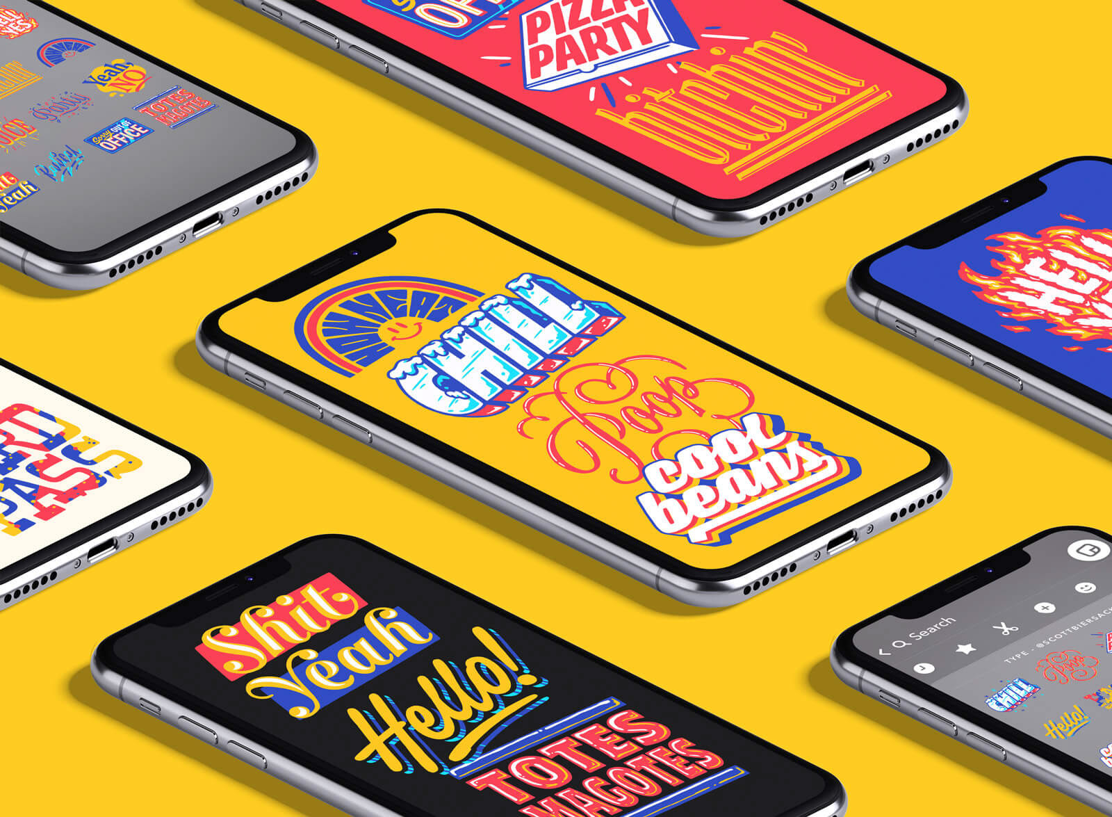 Snapchat's Typographic & Illustrative Sticker Packs by Scott Biersack