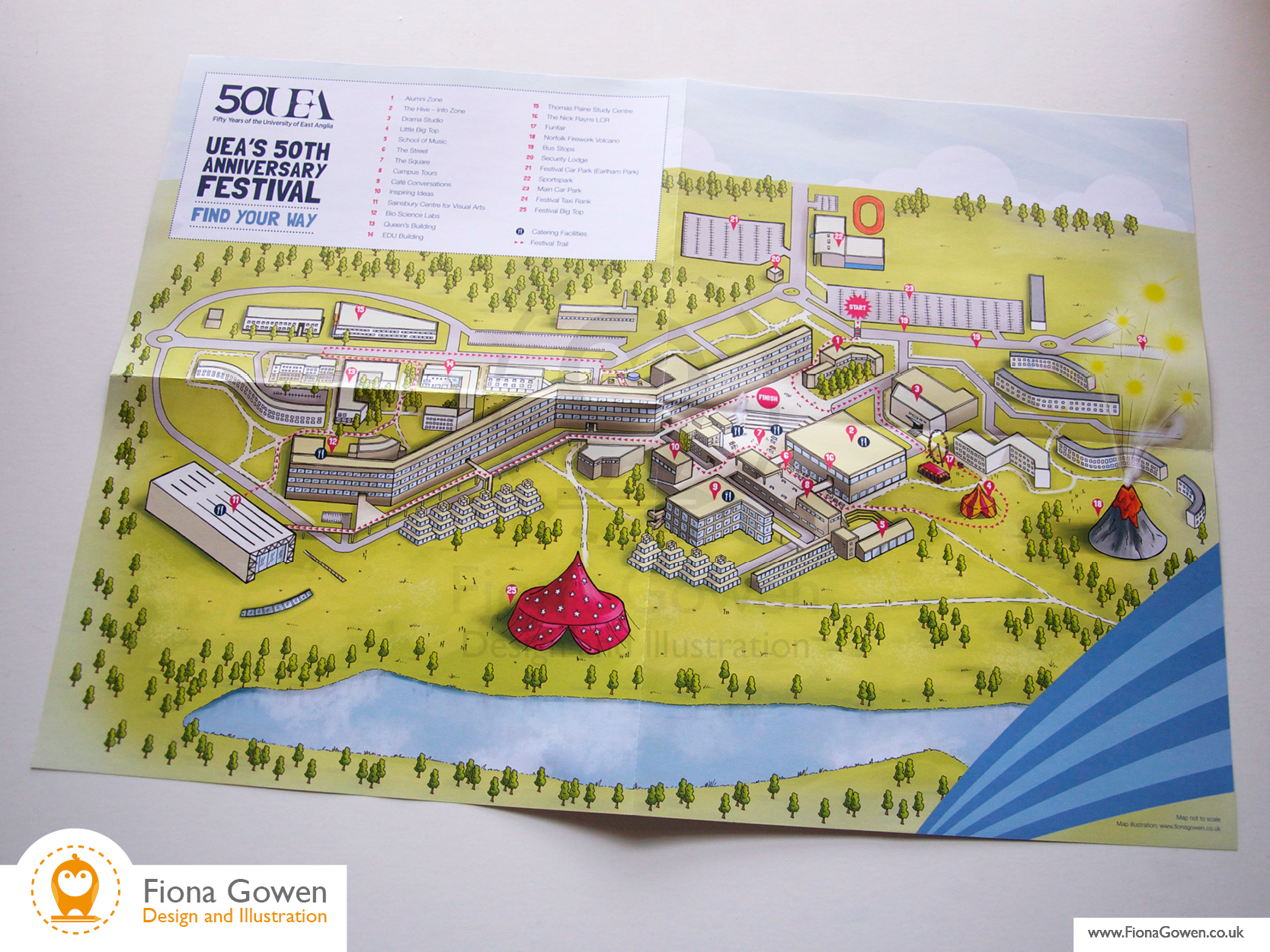 Fold out visitor map for UEA University of East Anglia 50th Anniversary festival Map artwork by Fiona Gowen