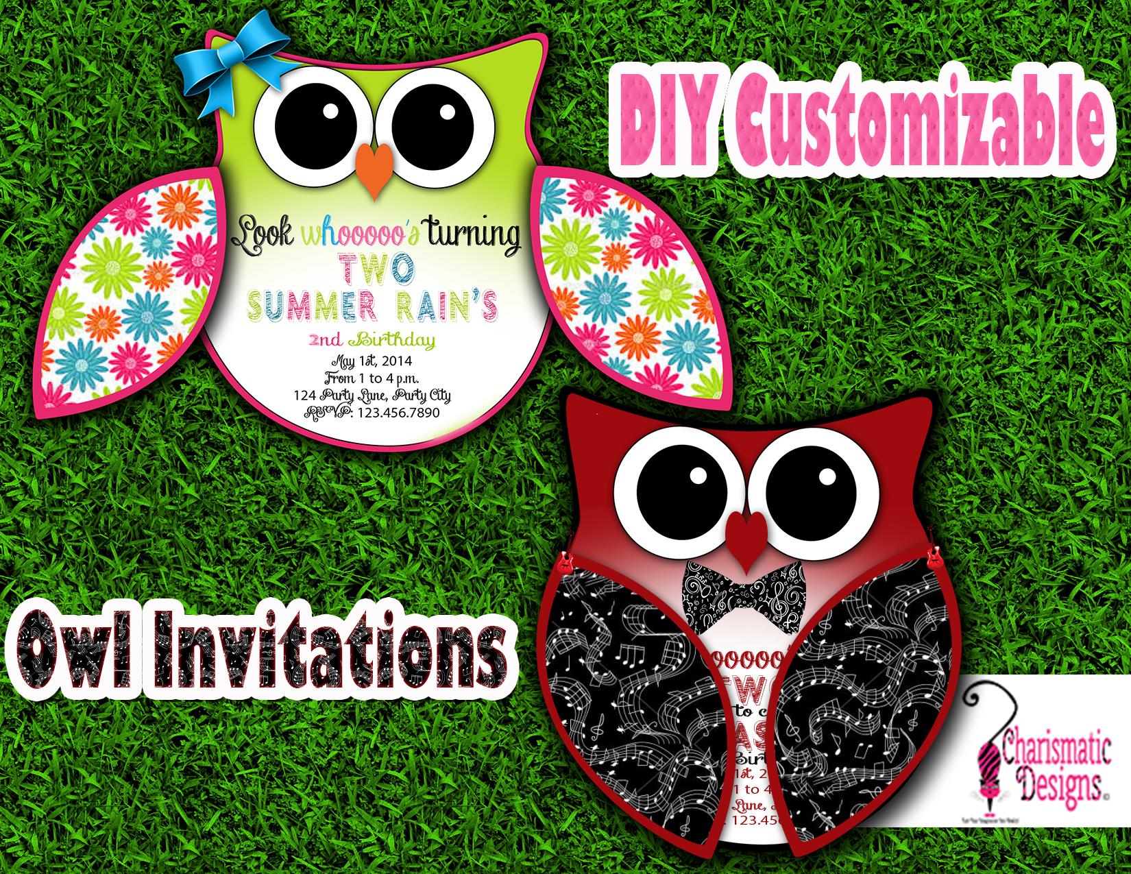 Free DIY Customizable Owl Invitation Printable Template On Behance
