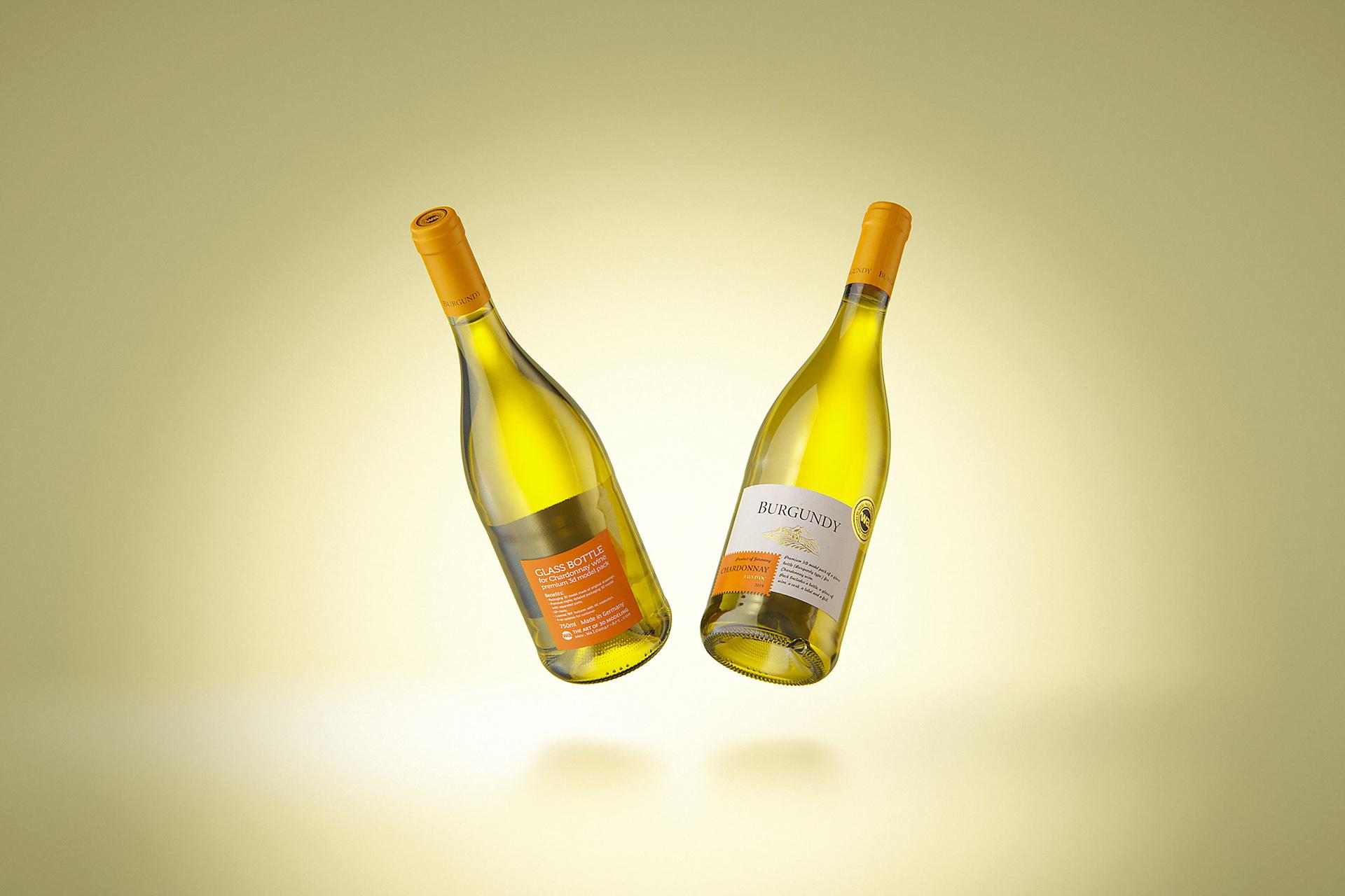 BURGUNDY bottle 3D model for Chardonnay wines on Behance