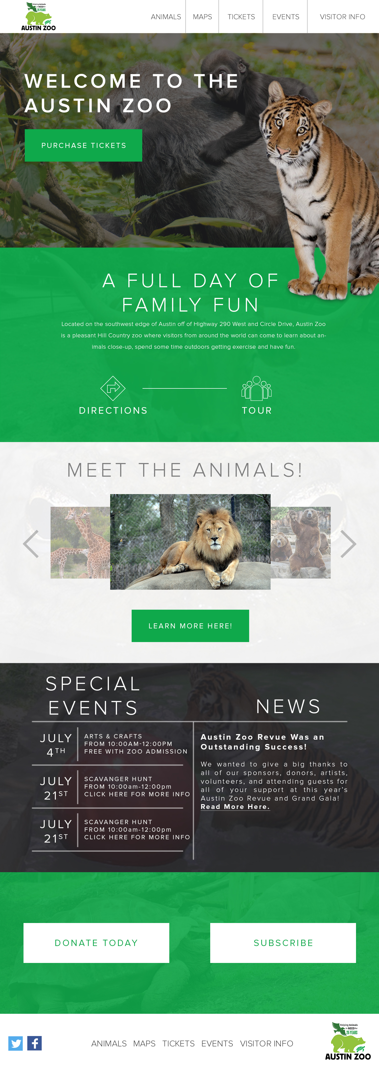 Austin Zoo Homepage Redesign