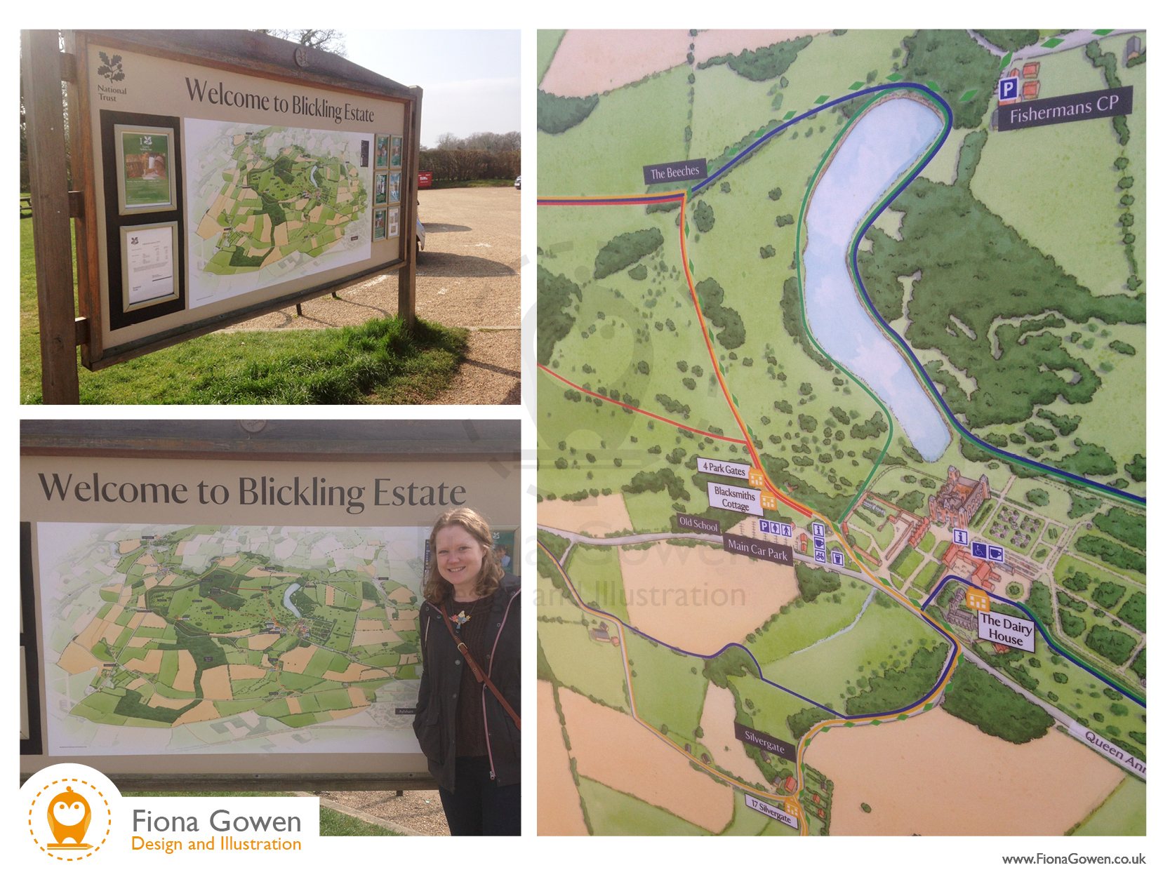 Photograph of Illustrated map signage at Blickling Hall National Trust property by Fiona Gowen