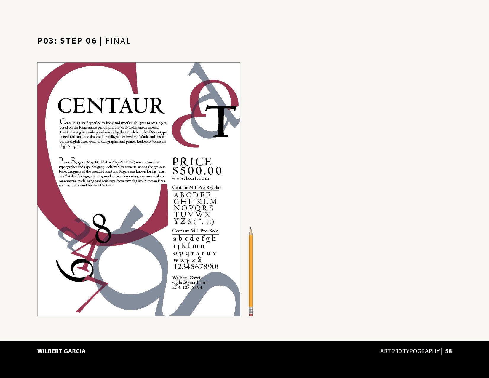 Centaur Fonts Typography Poster on Behance