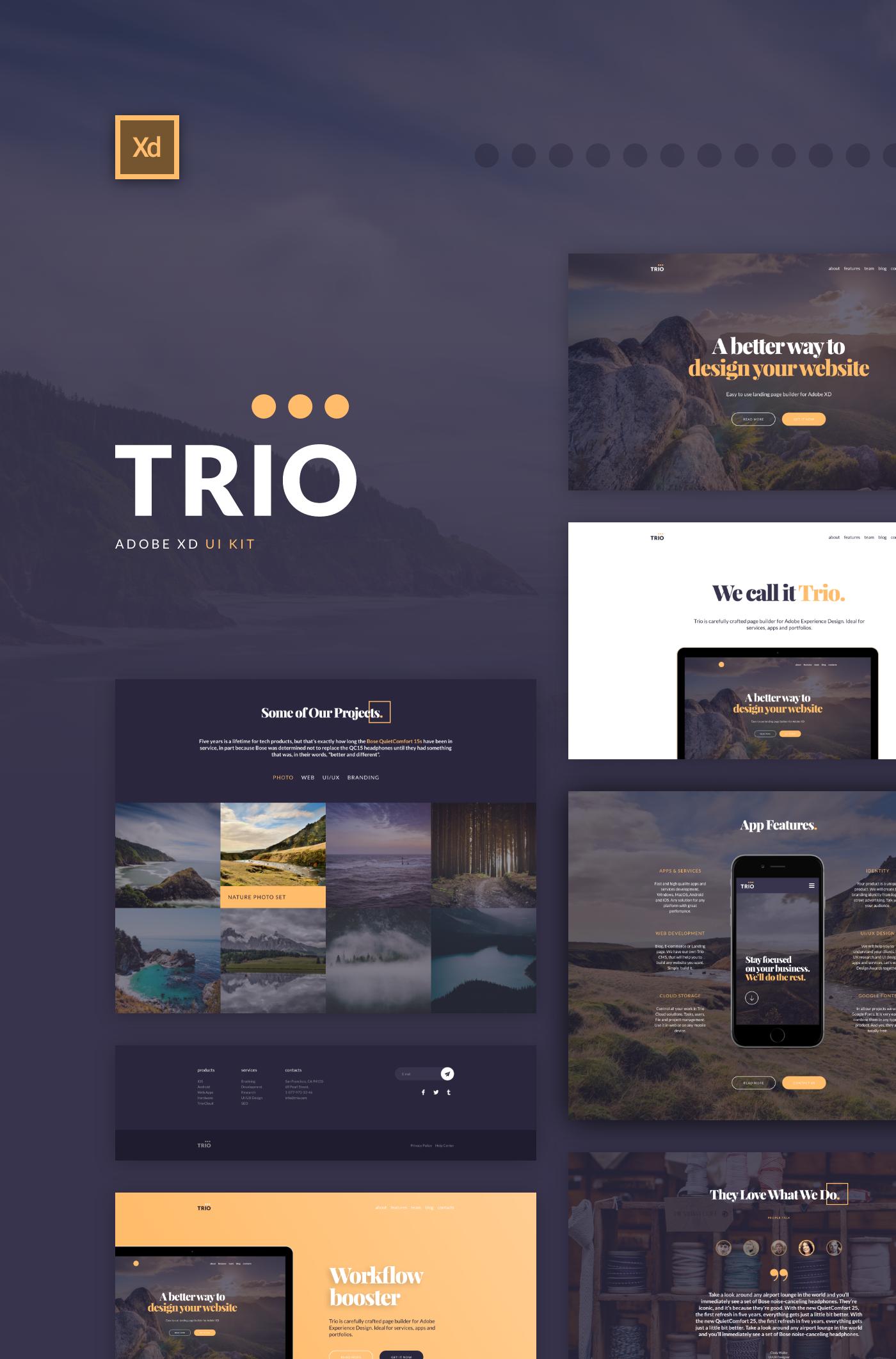 Trio Ui Kit For Adobe Xd On Behance