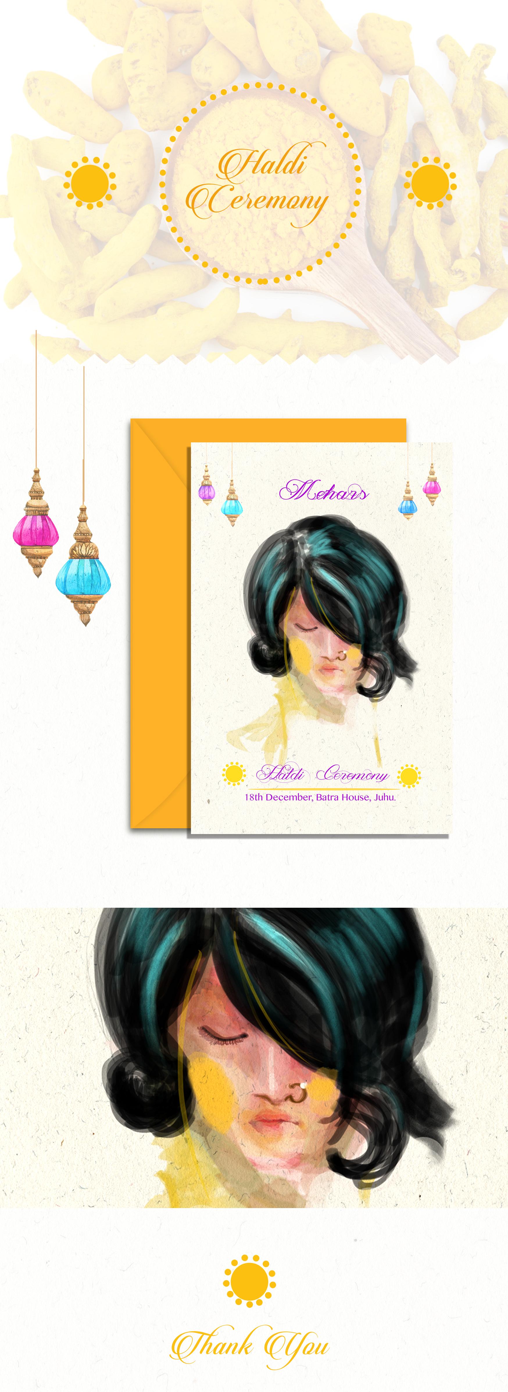Haldi Invitation Illustration On Behance
