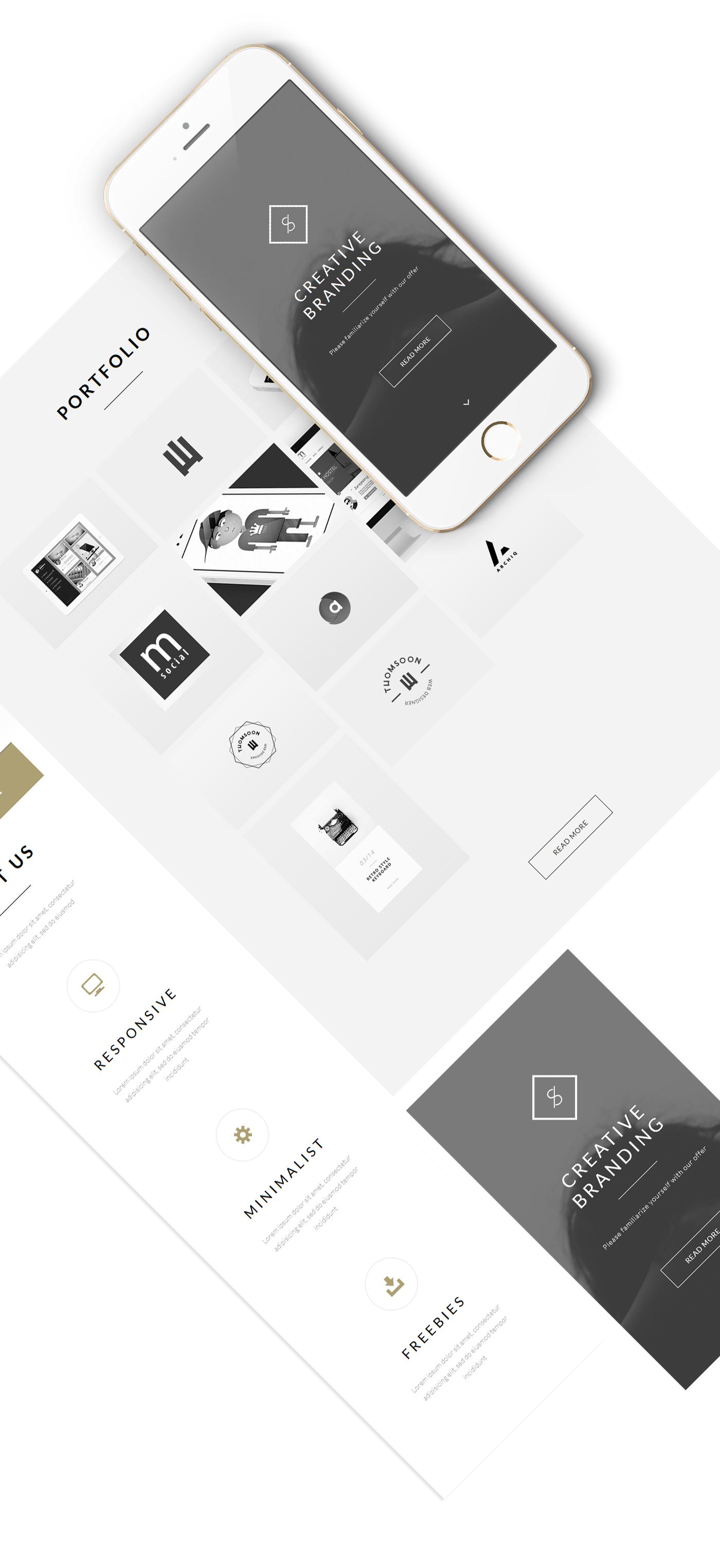 FREE Landing Website   Clean theme   Behance API + PSD on Behance