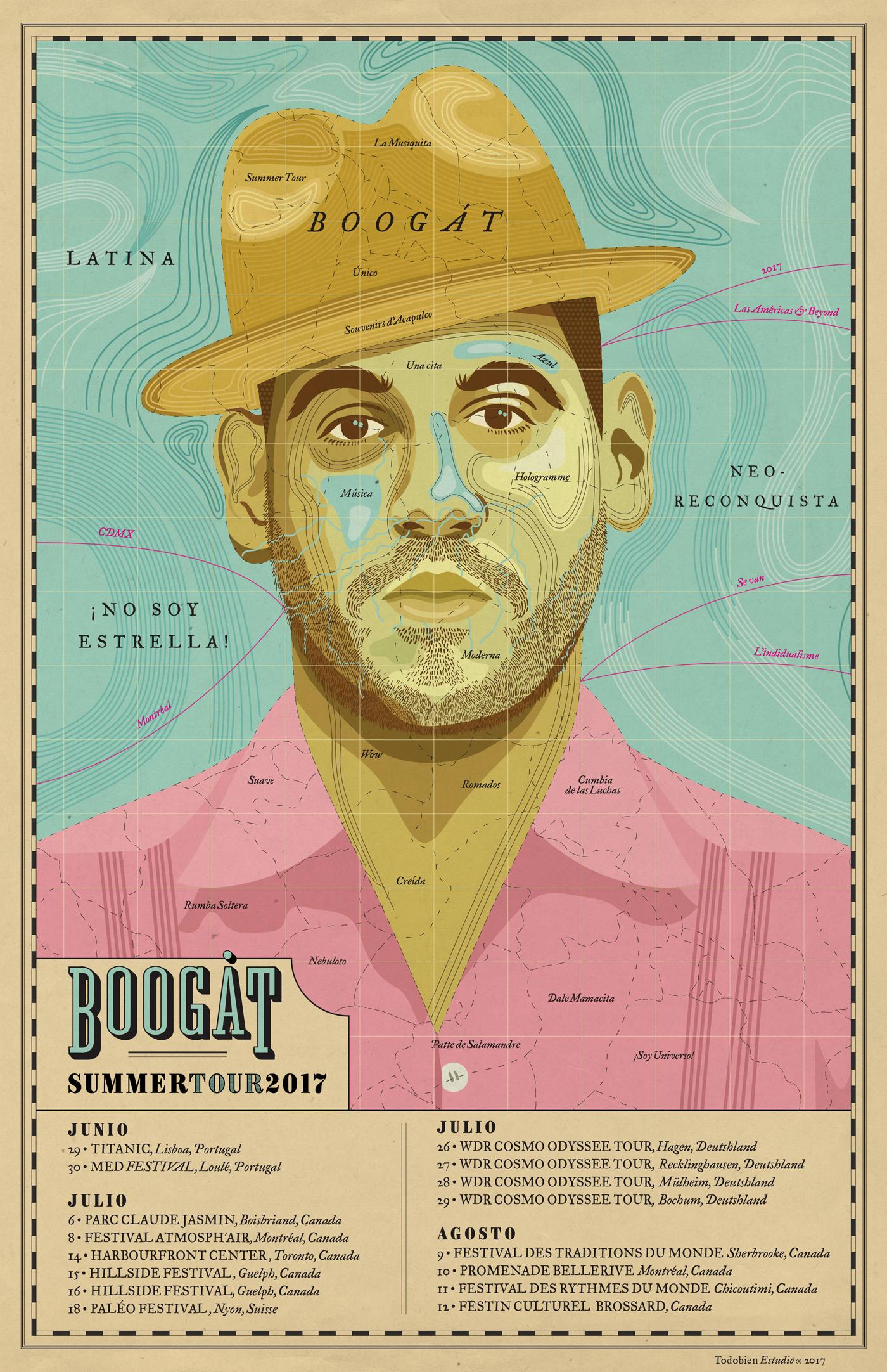 4cda77963fd Imagen Poster SUMMER TOUR 2017 de Boogát Diseñado en casa  TodoBien Estudio  por Oscar Reyes   Nayeli Rojas