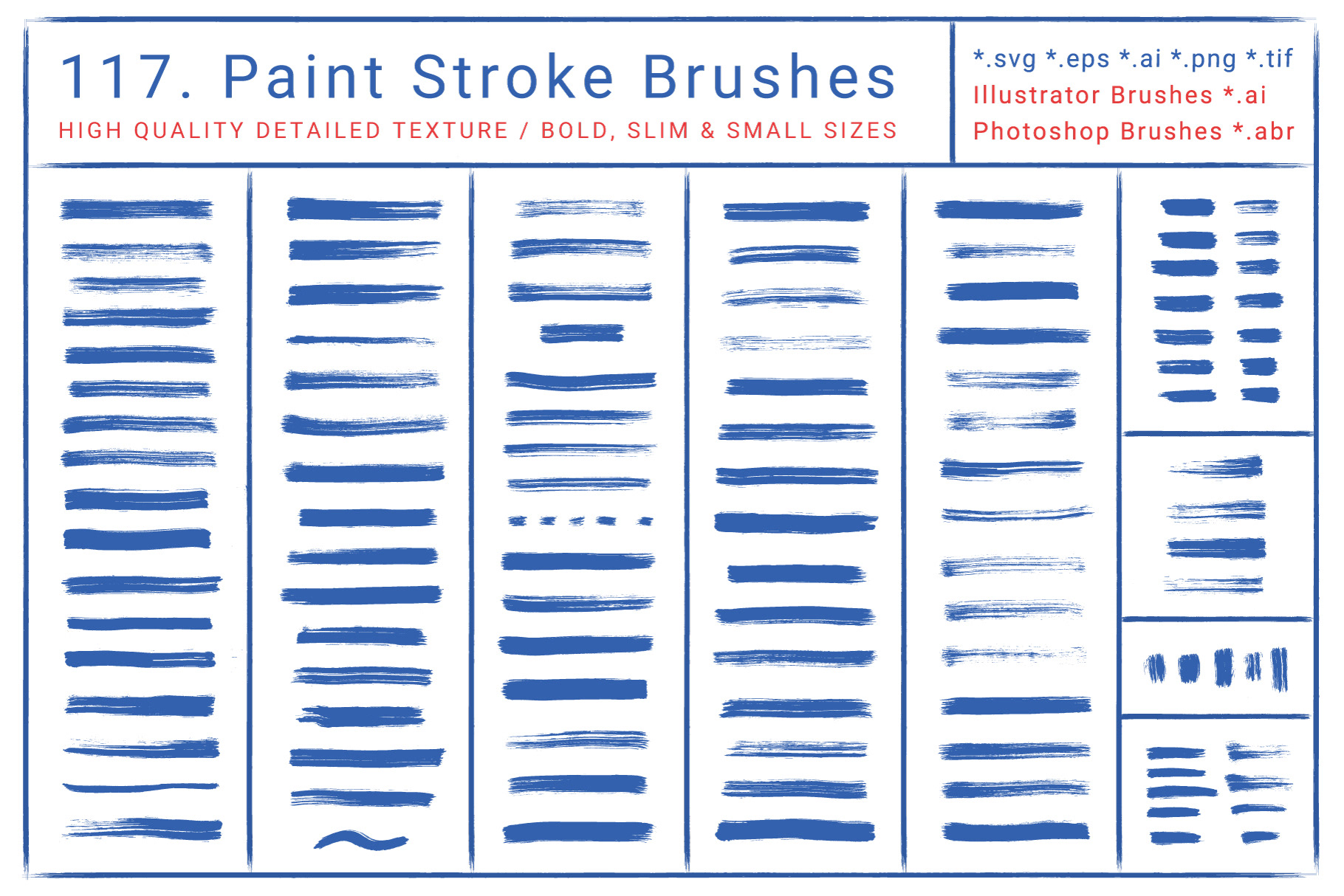 117 Paint Stroke Brushes for Al & Ps ~ DOWNLOAD on Behance