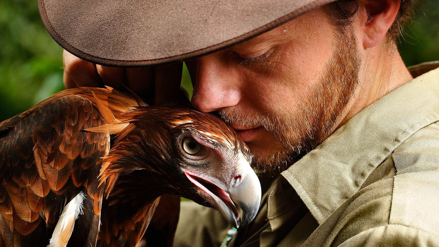 Territory Wildlife Park's Senior Animal Trainer, Adam Bean, 30, and Labelle the Wedge Tailed Eagle