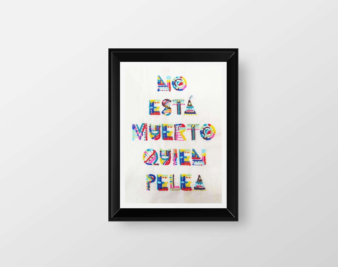 Color art tipografia - Embroidery By Manu Aparicio