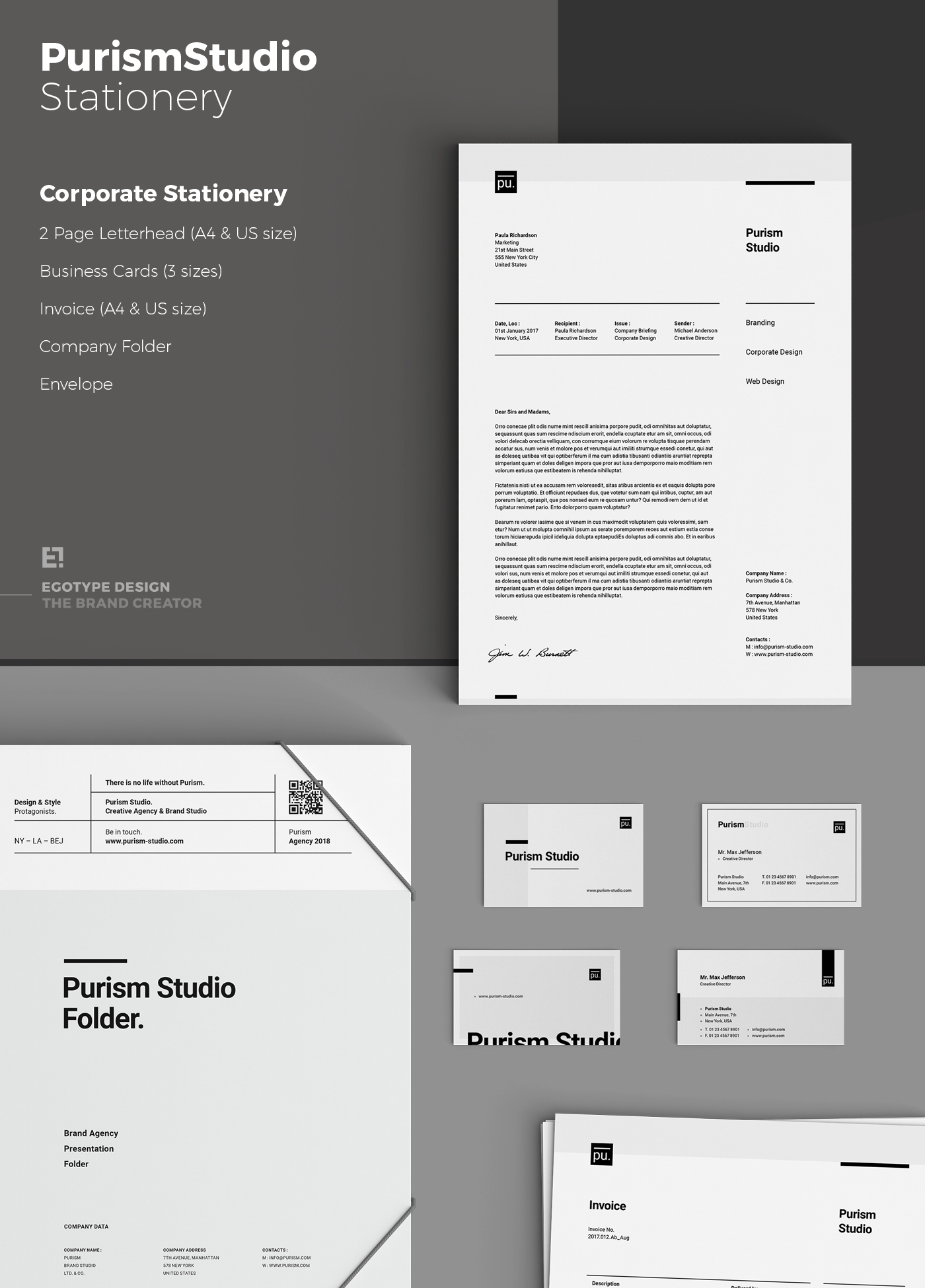 Purism Corporate Design & Stationery on Behance