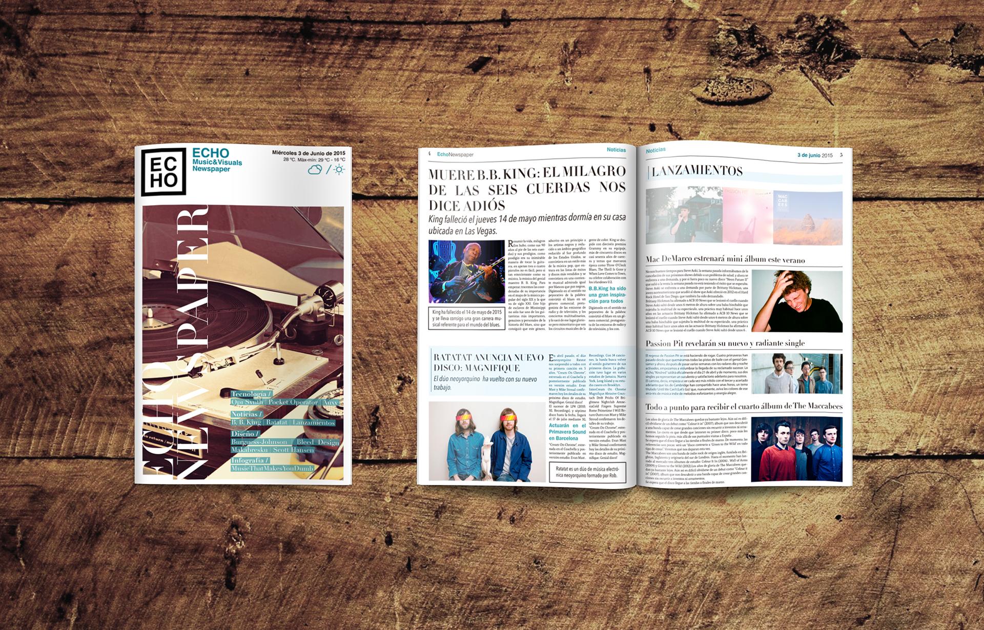 Echo Music & Visuals Newspaper on Behance