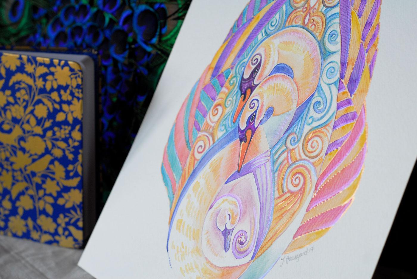 Side photo of Swan Totem by Jennifer Hawkyard