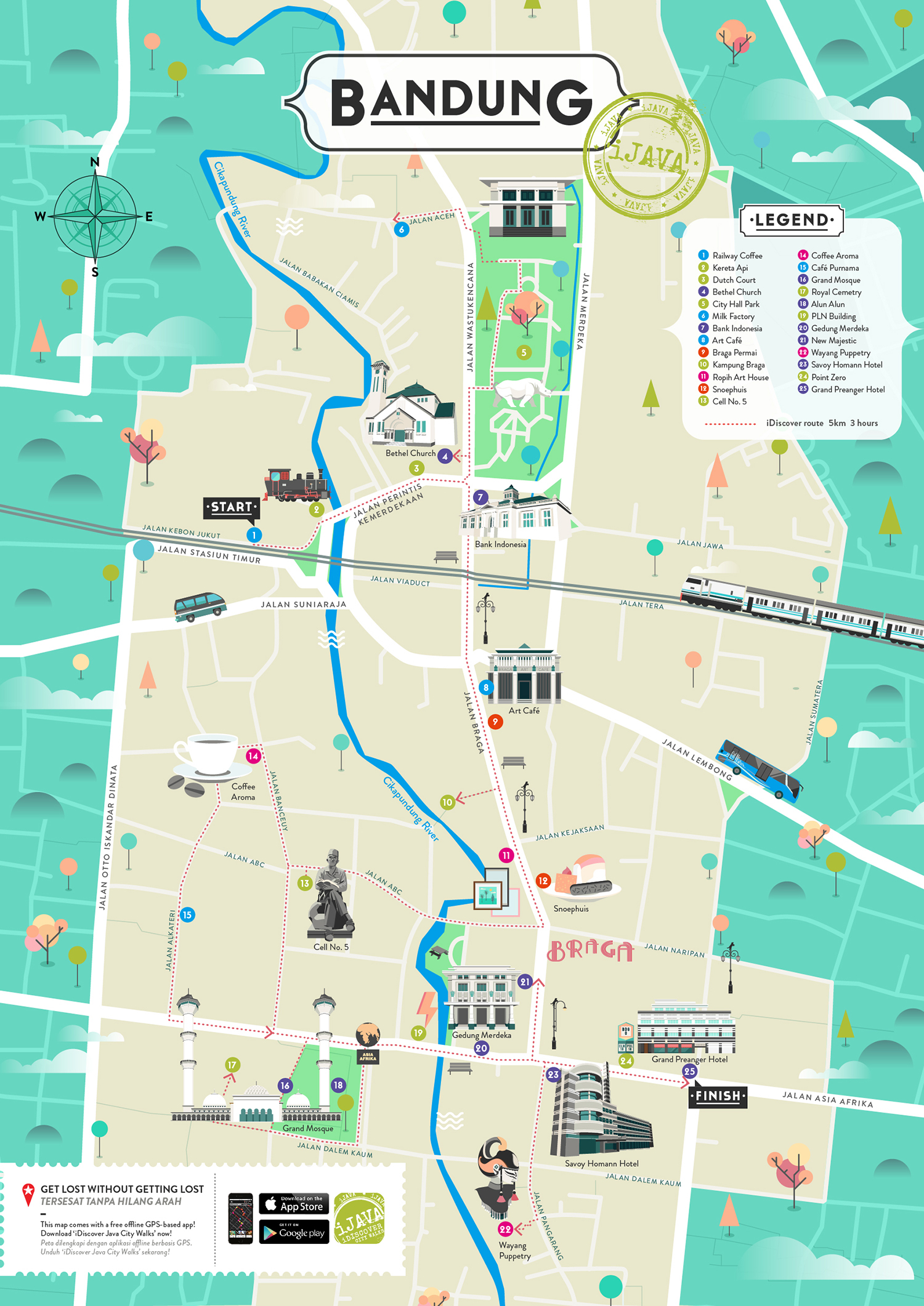 iDiscover Bandung Illustrated Map on Behance