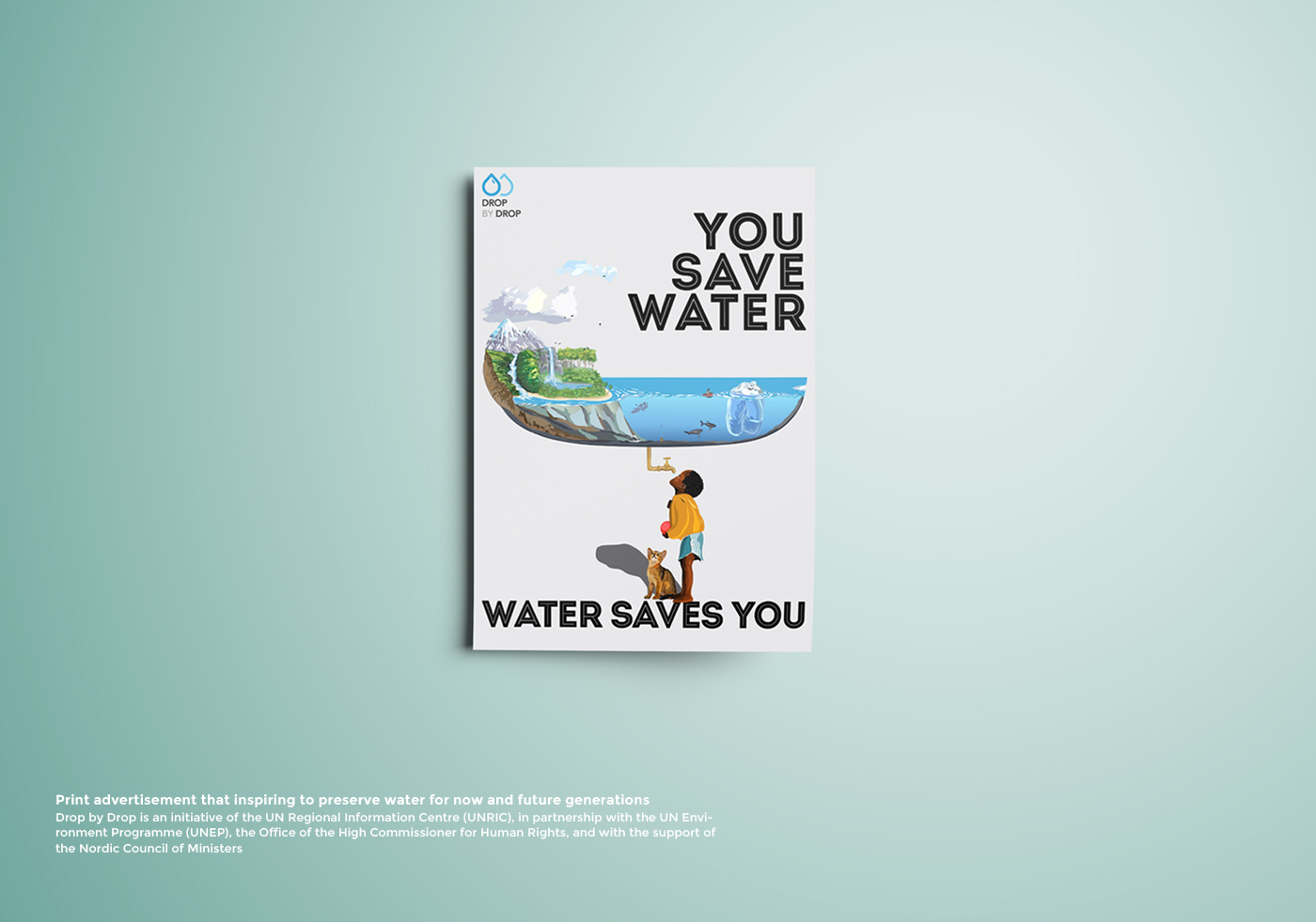 Poster design on save water - Thank You