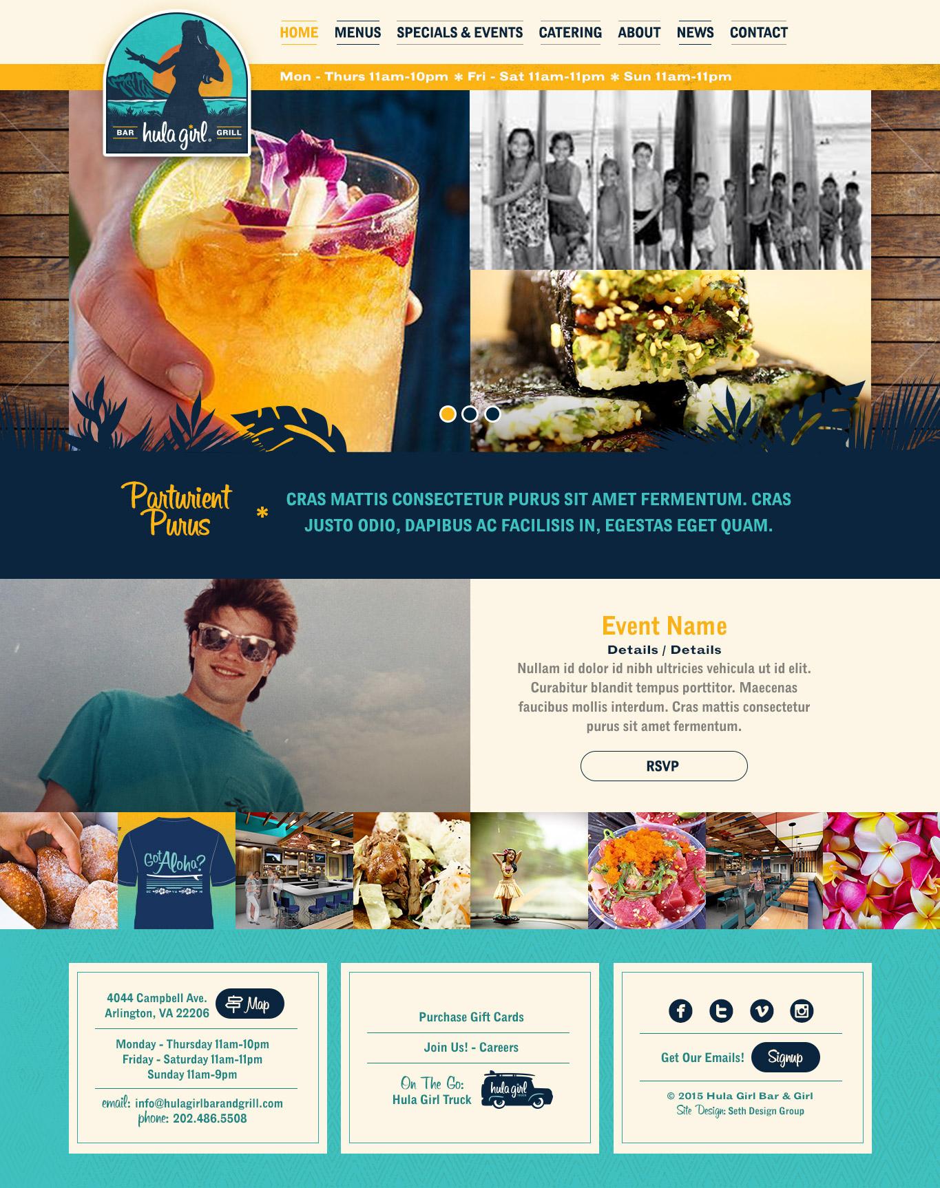 Hula Girl Bar & Grill, Hawaiian Restaurant Branding, Website Design, Arlington, VA, DC