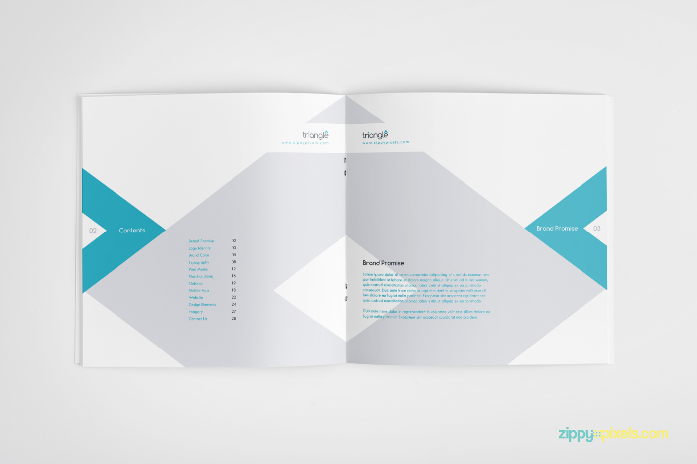 click here to download the triangles brand book template with 30 unique pages