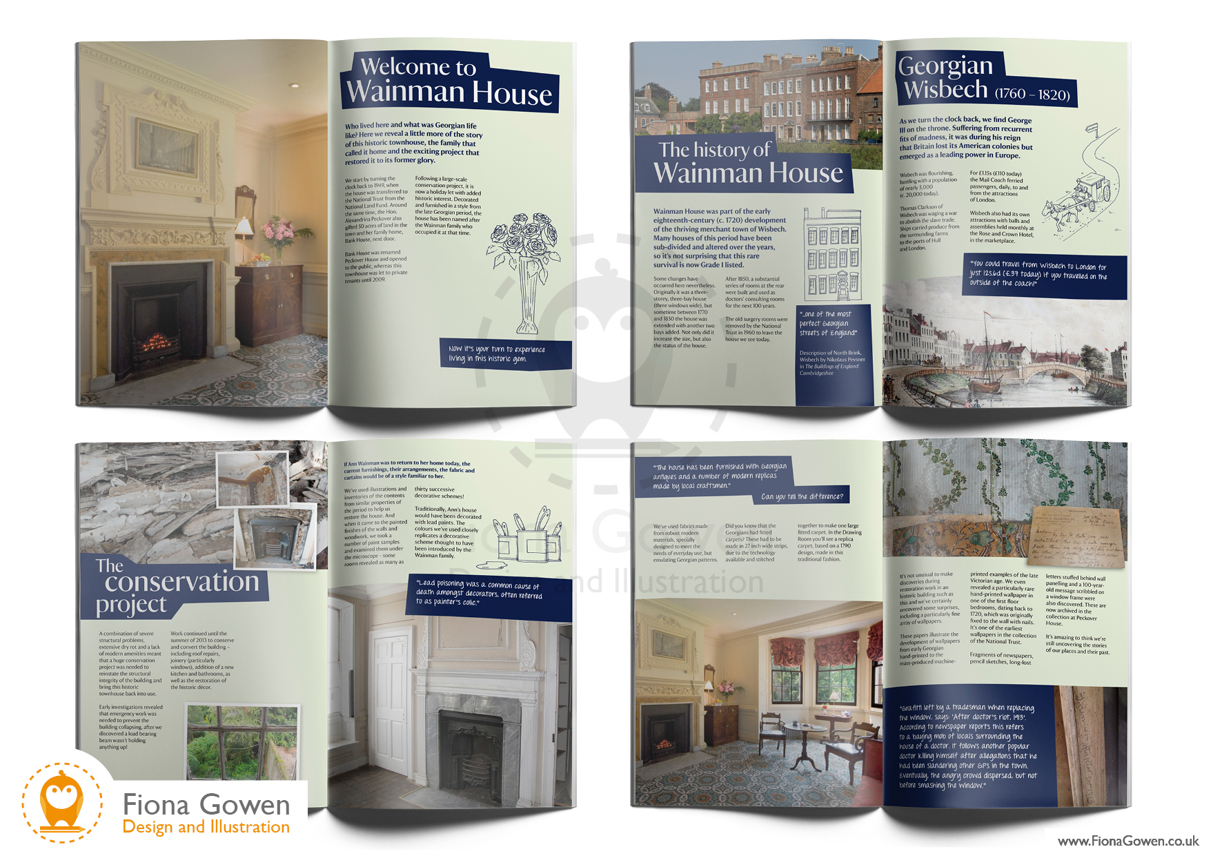 Wainman House National Trust Holiday Cottage guidebook. Interior spreads. Design and illustration by Fiona Gowen