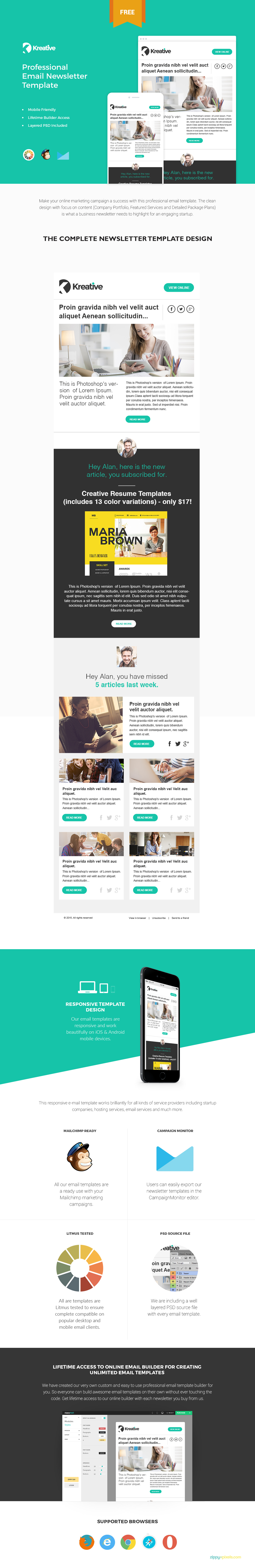 click here to download this mailchimp ready free email newsletter template - Free Email Newsletter Templates