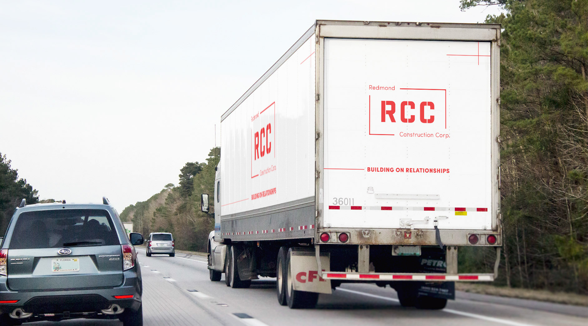 This shows a mockup of a semi-truck with RCC's branding.