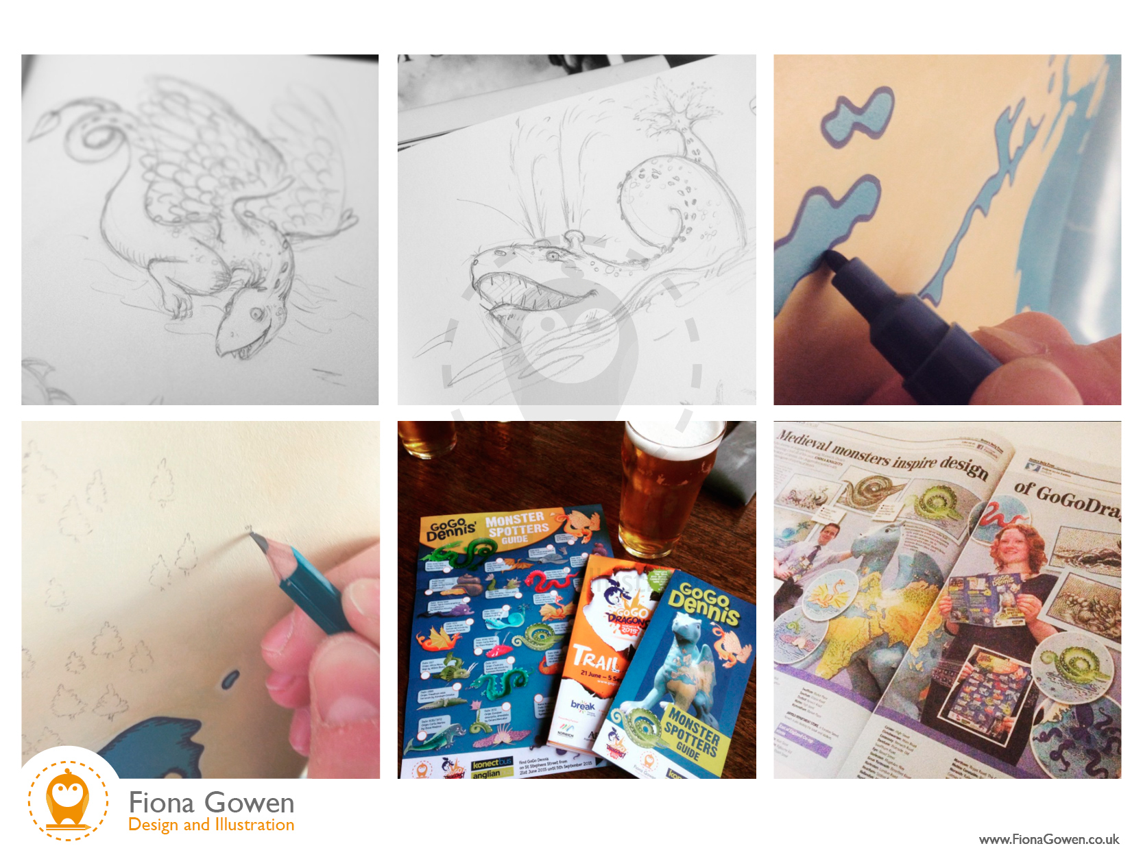 Work in progress shots of illustrated map and map monsters featured on 2015 dragon sculpture, painted by Fiona Gowen for gogodragons 2015 in Norwich