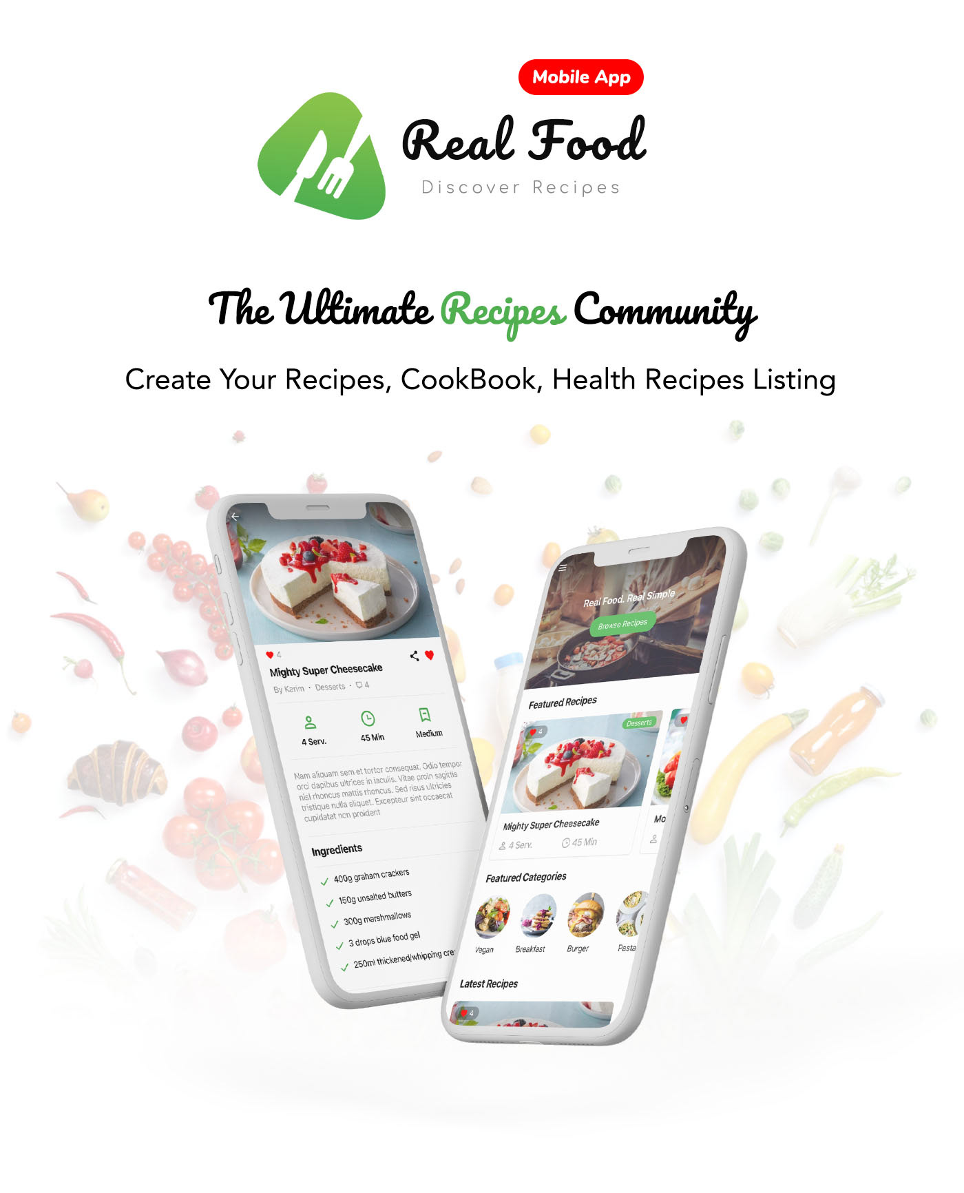 RealFood Mobile |  React Native Recipes & Community Food - 2