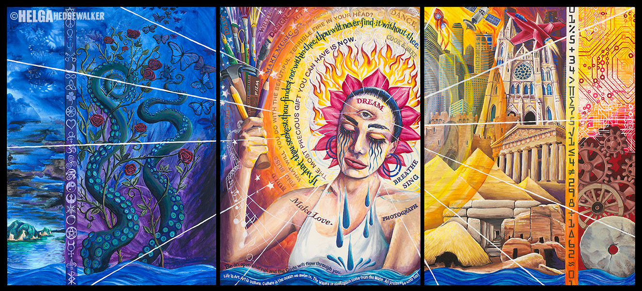 Nuit: Queen of Heaven: 36 inches high x 60 inches wide, acrylic and mixed media on canvas. $3,000.00