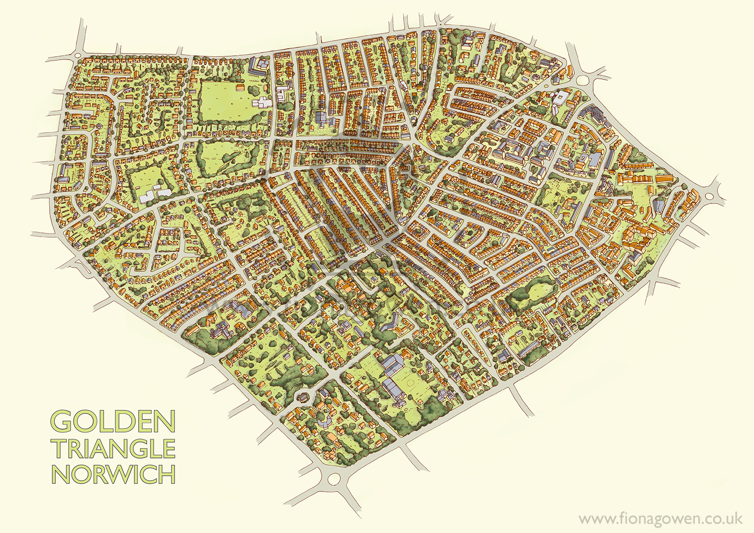Illustrated map of the Golden Triangle area of Norwich City. Map illustration by illustrator Fiona Gowen