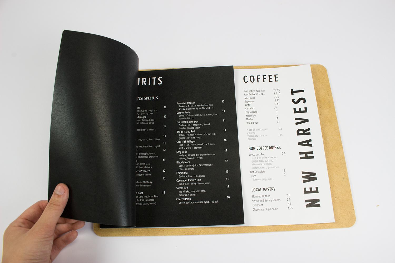New Harvest Coffee & Spirits Menu Design on Behance
