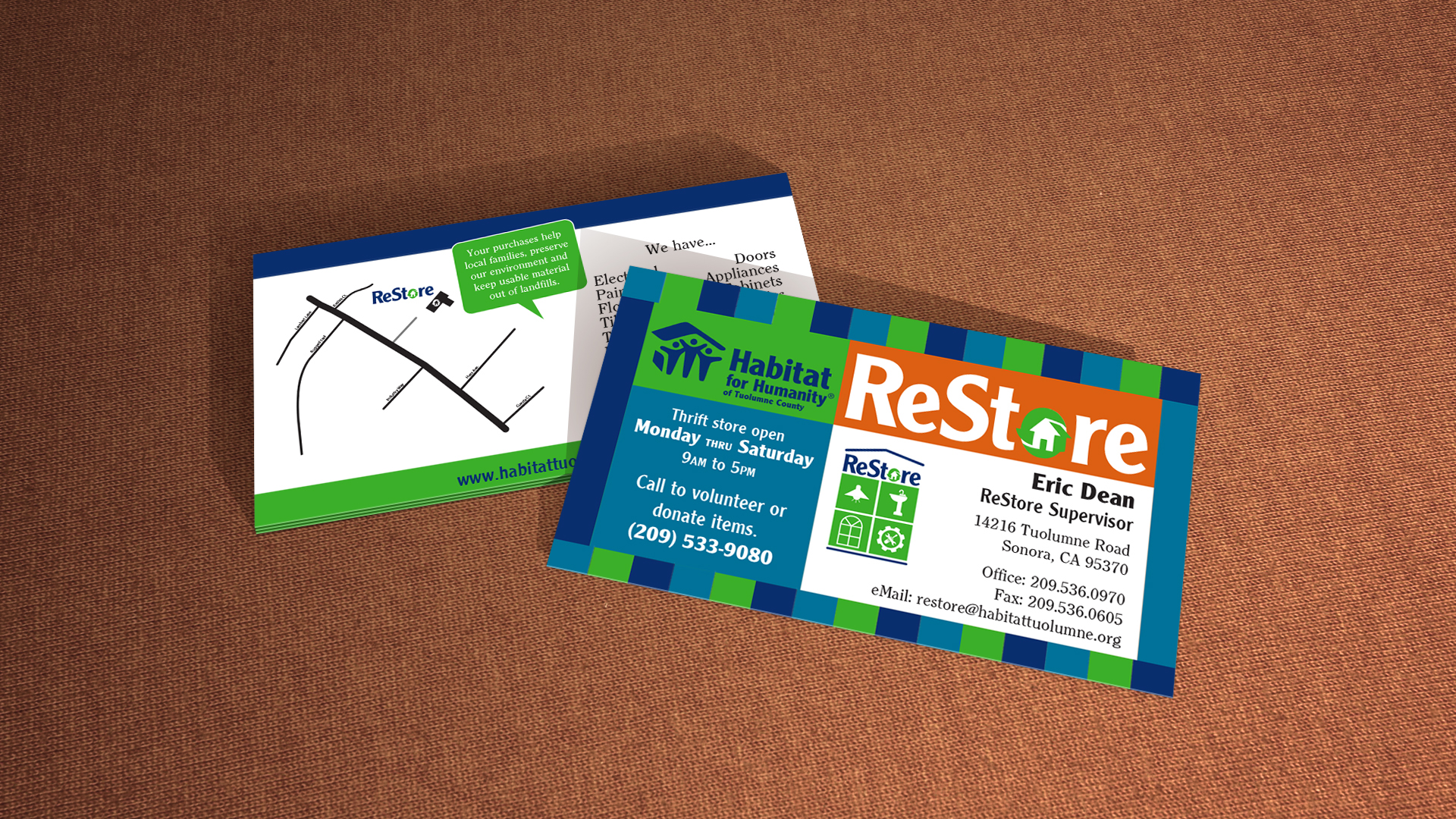 Kenneth yaecker habitat business cards business card design for hfh and restore thrift stores reheart Image collections