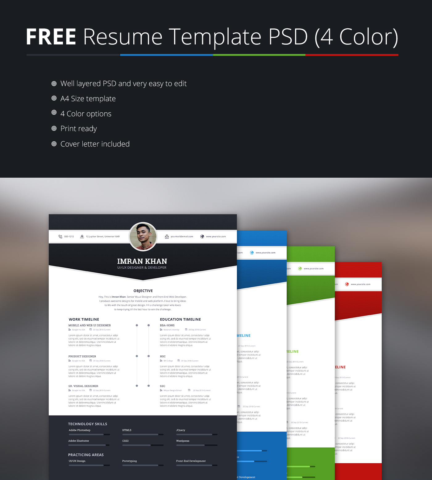 Beautiful FREE Resume Template PSD (4 Colors) On Behance