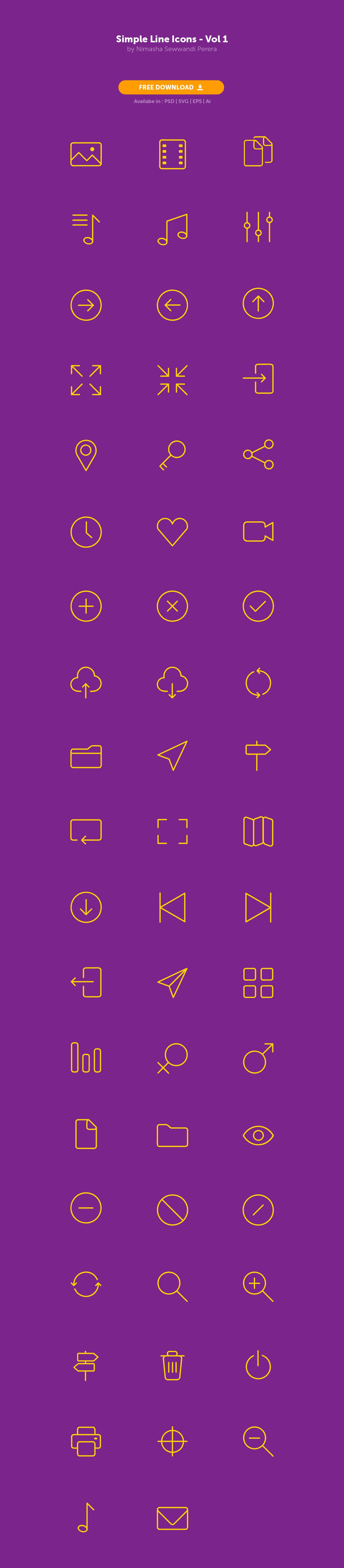 Simple Line Icons - Freebie - PSD Ai EPS SVG on Behance