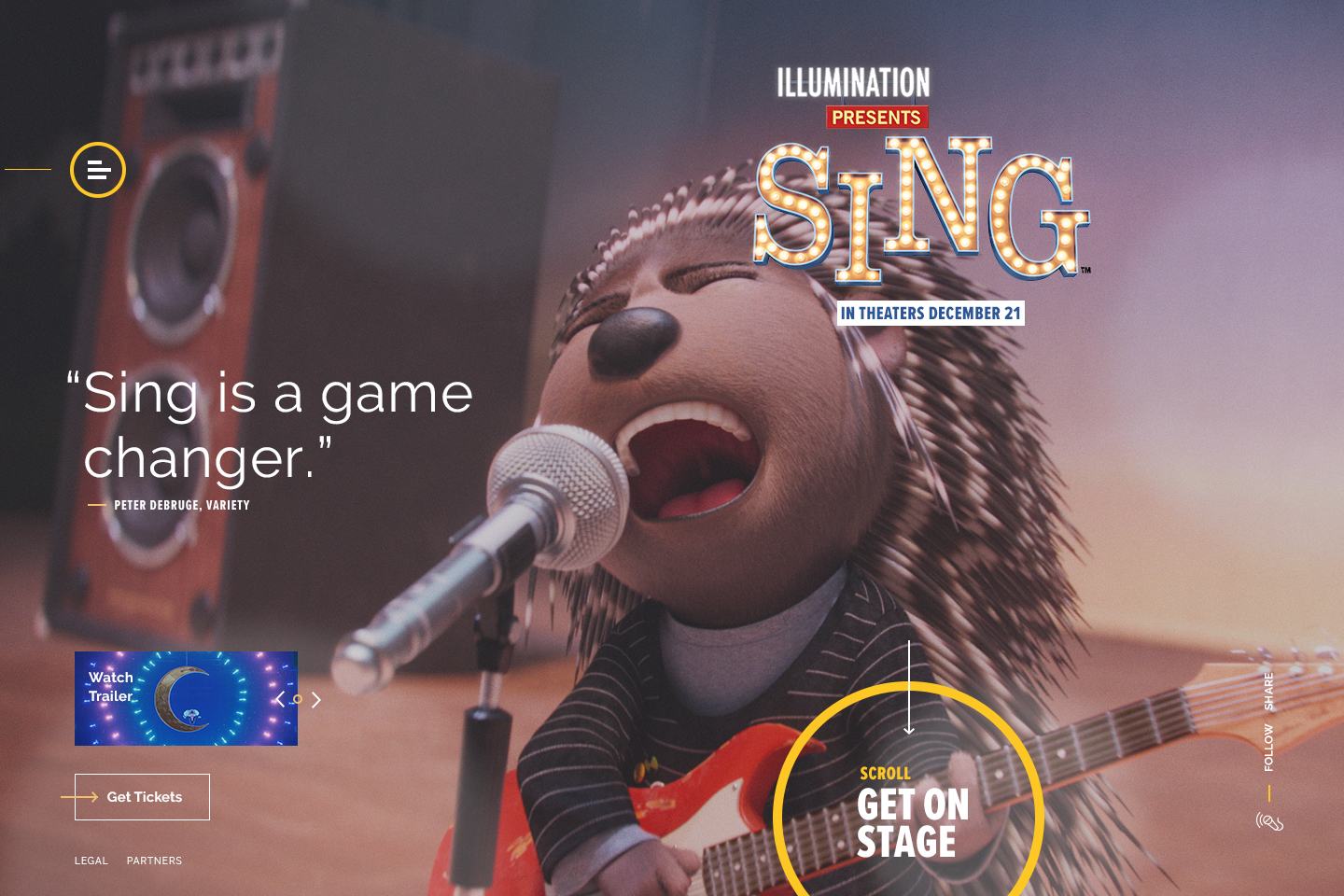 Interaction Design: Sing Movie Official Site