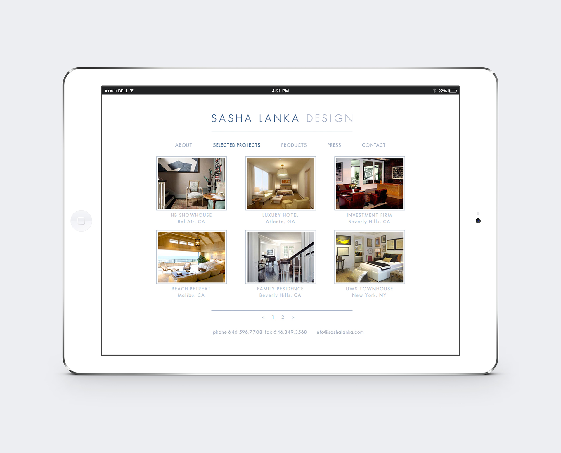 Responsive Website design for Interior Design Agency